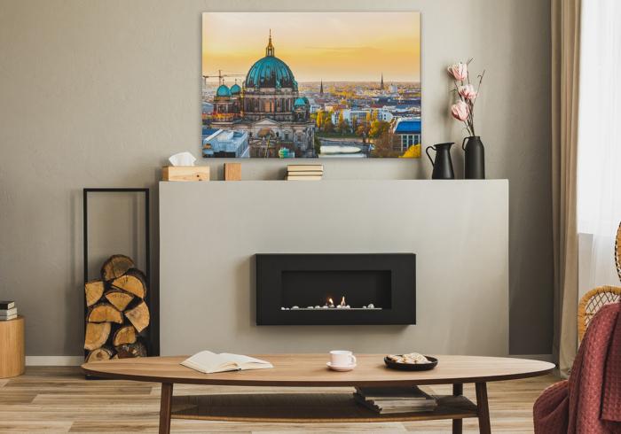 Bild Berlin im Wohnzimmer mit Kamin