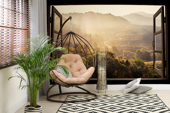Fototapete Fenster mit schöner Landschaft